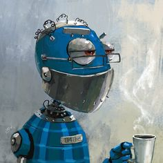 Teabot. Steampunk, Robot Illustration, Arte Robot, Retro Robot, Cool Robots, Robot Concept Art, Pop Surrealism, Stop Motion, Game Art