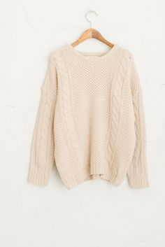 Cable Knit Jumper, Ivory