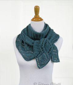 Long scarf shawl teal hand knit lace leaf edge textured by Otruta