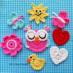 New crochet pattern! 6 patterns in 1 ! Cute crochet appliqués for embellishing bags, hats, blankets, sweaters, pillows and anything else you can think of!