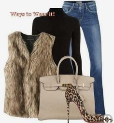 66 ideas for heels outfits shoes Fur Vest Outfits, Heels Outfits, Mode Outfits, Chic Outfits, Fashion Outfits, Womens Fashion, Shoes Heels, Fashion Ideas, Leopard Heels Outfit