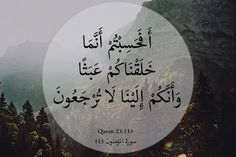 """""""Quran 23:115 """"أَفَحَسِبْتُمْ أَنَّمَا خَلَقْنَاكُمْ عَبَثًا وَأَنَّكُمْ إِلَيْنَا لَا تُرْجَعُونَ"""" """"Do you then think We created you merely for play and that you would not be..."""