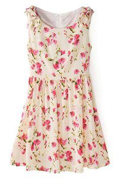 蝶結び飾りプリーツ スリムな花柄のドレス