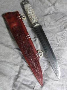 """""""Making of scabbard for 6thC seax in progess. With thanks to P.Florianek & P.Cowan."""" Love the carved hilt!"""