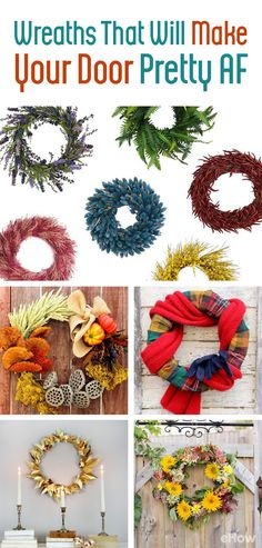 Decorate your doorway (or walls!) with these festive, original wreaths! http://www.ehow.com/how_12343647_fall-wreaths-make-front-door-pretty-af.html?utm_source=pinterest.com&utm_medium=referral&utm_content=curated&utm_campaign=fanpage