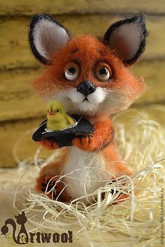 Needle Felted Fox with baby chick by Natalia Kuznetsova of Moscow, Russia
