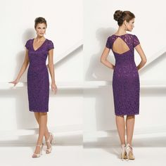 Mother Of The Bride Suits 2015 Sexy Knee Length Mother Of The Bride Dresses With Short Sleeves V Neck Backless Evening Dress Lace Mother Dress With Button Custom Made Plus Size Mother Of The Bride Dresses Under 100 From Yahmet, $86.92| Dhgate.Com