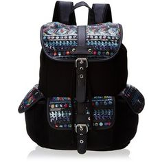 Wild Pair Printed Sequin Flap Cargo With Faux Leather Trim Backpack Handbag