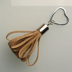 Tassel keychain / tassel keyring in natural genuine cork handmade by RinartsAtelier