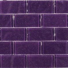 Splashback Tile Glitter Lavender (Purple) Glass Mosaic Floor and Wall Tile - 3 in. x 6 in. Splashback Tiles, Kitchen Backsplash, Purple Bathrooms, Tile Bathrooms, Purple Kitchen, Tile Stores, Glass Mosaic Tiles, Room Colors, Glitter Grout