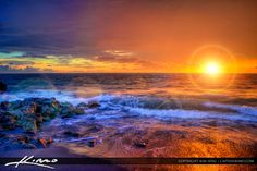 blowing rocks jupiter island florida | Sunrise from blowing rocks along the beach on Jupiter Island