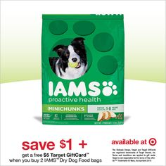 IAMS dog food promotion at Target. Get your coupon and Target gift card today with the purchase of two bags of dog food. Food Gift Cards, Dog Training Near Me, Gift Card Deals, Target Gifts, Target Target, Target Deals, Food Plus, Pokemon, Gift Coupons