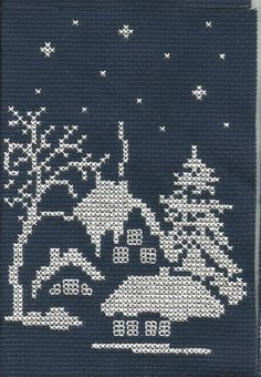 beautiful cross stitched houses and trees at night scene