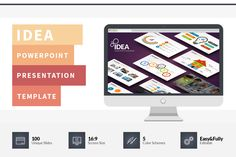Idea Flat PowerPoint Template by hey! on Creative Market