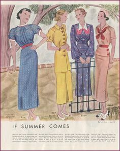 ~ McCall Fashion Book, Summer 1935  via New Vintage Lady. Vintage 1930s Women's Fashion Dresses