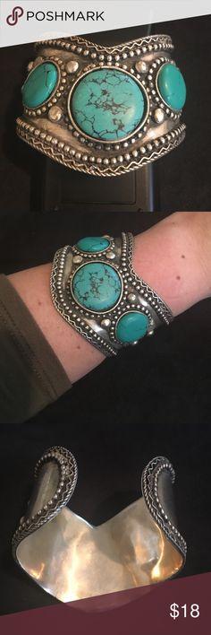 ZAD Turquoise Silver triple stone boho cuff ZAD Turquoise three stoned  Silver boho southwestern chic studded cuff bracelet. NWT. ZAD Jewelry Bracelets