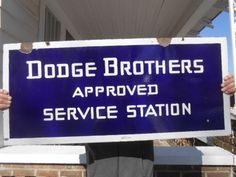 Vintage Sign Dodge Brothers Approved Service Station Double Sided Porcelain Oil  #DodgeBrothersServiceStation