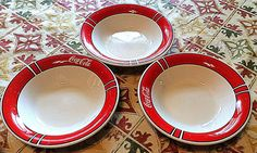 Lot of three Coca Cola (Coke) soup bowls 1996 made by Gibson Dishwasher Safe #CocaCola