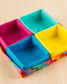 Passo a passo: prática caixa de origami em tecido