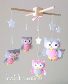 Baby mobile Owl mobile Baby Girl Mobile by lovefeltmobiles