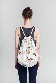 Plecak w kwiaty - Lootbag classic / flowers Drawstring Backpack, Backpacks, Classic, Flowers, Bags, Craft, Diy, Fashion, Fabric Purses