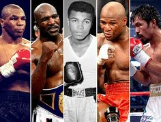 Top 5 boxers: Mike Tyson, Evander Holyfield, Muhammad Ali, Floyd Mayweather Jr. e Manny Pacquiao