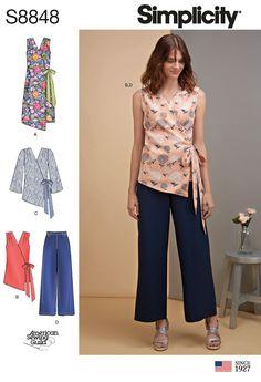 Simplicity 8848 Misses Wrap Dress Top Pants Sizes 16-24 Sleeve+Sleeveless New