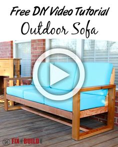 Learn how to build an Outdoor Sofa in this free DIY Video Tutorial.  All the details you need are here!