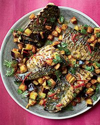 This terrific fish dish is a luscious combination of rich fish fillets with spicy mojo sauce and airy pieces of fried eggplant. - Diane 09/17/14