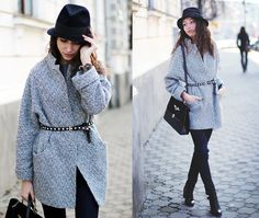 Coat, Jeans, Bag, Shoes, Belt, Hat