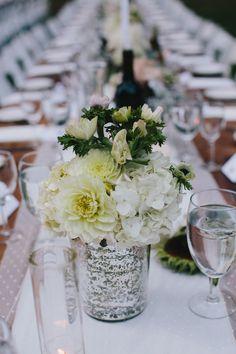 mercury glass centerpiece, photo by @Doriana Westerman /Sun + Life Photography http://ruffledblog.com/california-redwoods-wedding #centerpieces #mercuryglass #wedding