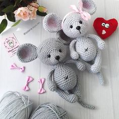 #kidstoys #kids Crochet Mouse, Crochet Teddy, Crochet Bunny, Cute Crochet, Crochet Hats, Crochet Animal Patterns, Crochet Patterns Amigurumi, Doll Patterns, Crochet Animals