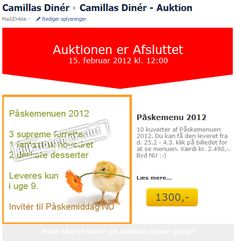Camillas Diner using Newsperience Facebook Auction App  newsperience.dk