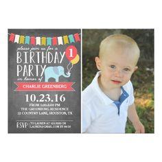 Circus Birthday Invitations Custom Age Elephant Birthday Party | Birthday Card