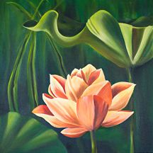 "Water Lillies diptych by Shelley Bauer Oil ~ 24"" x 24"" each, total 48"""