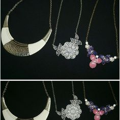 Statement Necklace 3 pc bundle , Used necklaces, the gold color on the left necklace has faded out  , the necklace in the middle is silver color, the one on the right is hot pink and purple Charlotte Russe Jewelry Necklaces