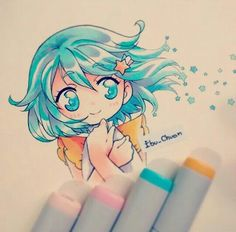 [By: Ibu_Chuan] -Love the color of the hair & eyes! Anime Chibi, Kawaii Anime, Kawaii Chibi, Cute Chibi, Kawaii Art, Marker Kunst, Copic Marker Art, Copic Art, Copic Drawings