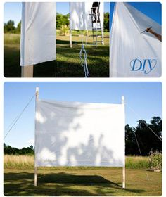 Outdoor Movie Night - family night or slumber party in the backyard. How to build a projector screen FREE DIY instructions and tutorial. Backyard Movie Screen, Outdoor Movie Screen, Backyard Movie Nights, Outdoor Movie Nights, Outdoor Theatre, Outdoor Cinema, Outdoor Movie Party, Movie Night Party, Outdoor Fun