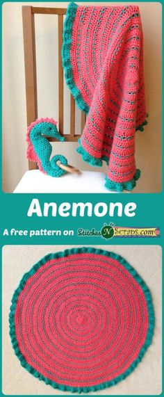 Anemone Security Blanket - a free pattern on StitchesNScraps.com