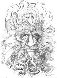 Image result for green man line drawing