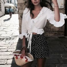 Spring Styles, Must Have Looks, Cute Clothes #boutiqueclothing #polkadot #whiteblouse
