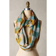 Anthropologie Bayset Loop Scarf (£44) ❤ liked on Polyvore featuring accessories, scarves, green motif, tube scarves, circle scarf, tube scarf, infinity scarves and circle scarves