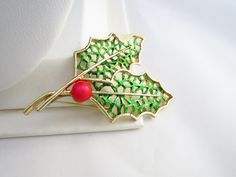 Vintage Gerrys Enamel Holly Brooch Christmas Holiday Red and Green (5.00 USD) by ERAtiqueJewels