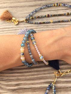 OOAK armcandy SET: 3 beaded bracelets in beautiful by BonkIbiza