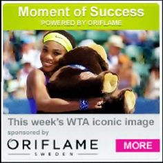 8/4/14 Oriflame's Moment of Success: Serena Williams celebrated after defeating Angelique Kerber in Stanford to lift the 61st title of her career.  ♥