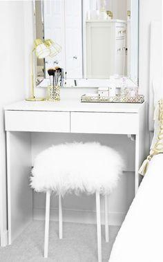 DIY Decor, Fuzzy Stool, Furry Stool, Mongolian Stool, Sheepskin Stool, Home DIY, Dressing Table, Vanity, White Stool, White and Gold, Girls Bedroom, IKEA, White Stool, Affordable Decor, Budget
