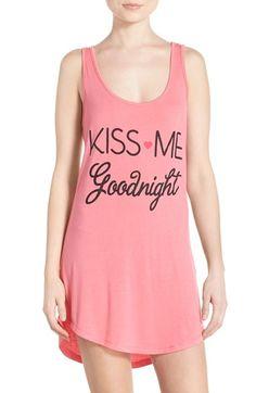 Junk Food 'Kiss Me Goodnight' Jersey Sleep Shirt Pijamas Women, Junk Food Clothing, Sleep Shirt, Sleepwear Women, Anniversary Sale, Nordstrom Dresses, Dress Me Up, Night Gown, Ideias Fashion