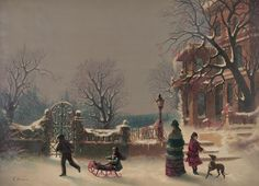 Beautiful Western Snow Scenes | HERE IS A BEAUTIFUL REPRODUCTION PRINT OF VINTAGE CHRISTMAS SCENE. ON ...