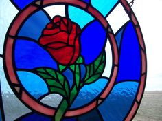Stained Glass Beauty and the Beast Rose Window by cityfreeglass, $260.00