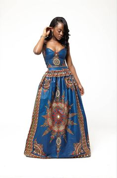 Blue Dasmina Set by Grassfieldss on Etsy ~African fashion, Ankara, kitenge… African Print Dresses, African Print Fashion, Africa Fashion, African Dress, Fashion Prints, African Prints, African Attire, African Wear, African Women